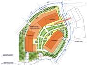 The site plan includes plazas and walkways.