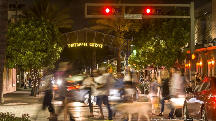 The Heart Of Downtown Delray Beach Is A Buzz With Pedestrian And Automobile Traffic As