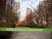 A section of the Rose Kennedy Greenway was blocked off during installation of the 2,000 pound fiber sculpture by Brookline artist Janet Echelman.