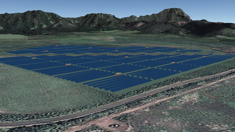 This rendering shows the Kauai Island Utility Cooperative's Koloa Solar project. The Navy plans to develop a a major solar farm and battery energy storage system on nearly 200 acres at the 2,134-acre Pacific Missile Range Facility at Barking Sands on the west side of the island of Kauai.