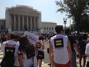 Crowds swelled outside the Supreme Court in D.C. on Wednesday morning before the ruling of the Defense of Marriage Act.