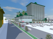A rendering of 500 Kirkham St., a 572-unit mixed-use building proposed near the West Oakland BART.