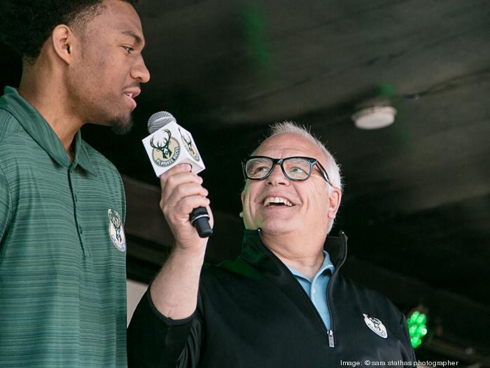 Bucks announcer Jim Paschke interviews one of the players.