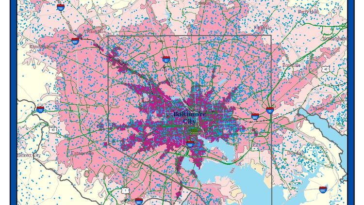 6 maps that show Baltimore's transportation and economic challenges Downtown Baltimore Map on