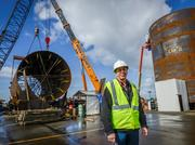Project manager Larry Englund at the autoclave construction site in Everett.