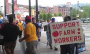 A number of protesters stood outside Kroger's annual meeting. They want Kroger to join the Fair Food Program and are trying to get better treatment of tomato farm workers in Florida. The shareholder proposal regarding that issue was defeated.
