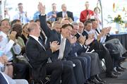 N.C. Gov. Pat McCrory responds to applause from the crowd during the UTC Aerospace headquarters dedication.