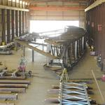 Roof trusses for arena coming from Stockton in big style (Video)