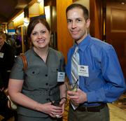 Renee Jensen and Will Callicoat of Summit Pacific Medical Center during the Puget Sound Business CFO of the Year Awards at the Grand Hyatt in Seattle on Thursday.