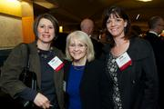 From left, Dena Herbolich of Moss Adams LLP, Lori Kaiser of Wells Fargo and Donna Zirkle of Northwest Center during the Puget Sound Business CFO of the Year Awards at the Grand Hyatt in Seattle on Thursday.