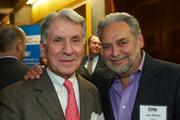 Jim Linardos, left, of Wells Fargo and John Nichols of Vistage during the Puget Sound Business CFO of the Year Awards at the Grand Hyatt in Seattle on Thursday.