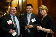 From left, Matt Fitzgerald of Wells Fargo, Kyle Chuang of Cambridge Mercantile Group and Loretta Shindler Wells Fargo during the Puget Sound Business CFO of the Year Awards at the Grand Hyatt in Seattle on Thursday.