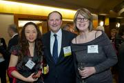 From left, Yah Backland, Peter Beck and Devon Cannon of Columbia Hospitality during the Puget Sound Business CFO of the Year Awards at the Grand Hyatt in Seattle on Thursday.