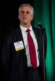 Bryceon Sumner of Callison during the Puget Sound Business CFO of the Year Awards at the Grand Hyatt in Seattle on Thursday.