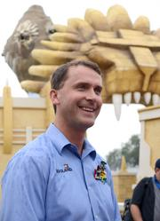 Adrian Jones, general manager of Legoland Florida, takes questions about the expansion. He's not part of the attraction, it was just for the media.