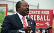 Former Cincinnati Reds player Joe Morgan speaks at the ceremony.