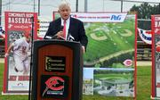 Reds owner Bob Castellini speaks at the groundbreaking for the Cincinnati MLB Urban Youth Academy.
