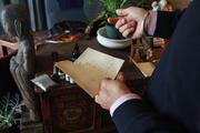 Altar founder Jagatjoti Khalsa looks over the formulas he has created.