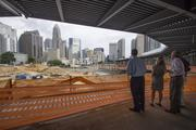 Uptown Charlotte overlooking the new BB&T Knights Stadium.