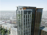Renderings of a proposed tower at 1900 Broadway.