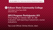 Edison State Community College has the No. 6 workforce development program.