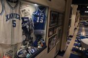 Xavier University basketball memorabilia is displayed at Cincinnati Gardens.