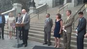 Cool Planet Energy Systems CEO Howard Janzen speaks at Wednesday's news conference on the west steps of the Colorado state Capitol in Denver.