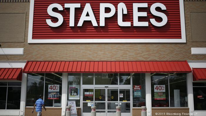 A customer enters a Staples Inc. store in Louisville, Kentucky, U.S., on Friday, May 15, 2015.