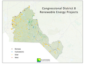 Map prepared by the N.C.Sustainable Energy Association shows more than 100 renewable energy projects in the 8th Congressional District. Solar projects are represented by yellow dots.