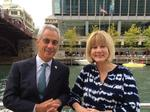 Chicago Mayor Rahm Emanuel somehow finds time for a stroll with WLS-Channel 7's Janet Davies