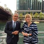 Chicago Mayor Rahm Emanuel somehow finds time for a stroll with WLS-Channel 7's <strong>Janet</strong> <strong>Davies</strong>