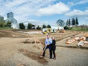 Bill and LaRue Stoller at the groundbreaking for their new winemaking facility, which wrapped up construction and is ready for the 2015 harvest.