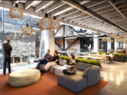 A rendering of the renovated interior of Uptown Station in Oakland, entirely leased by Uber.