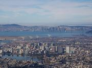 Downtown Oakland, with San Francisco seen in the background.