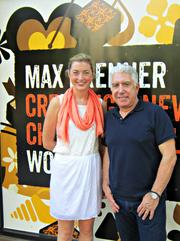 Max Brenner Executive Chef Katzie Guy-Hamilton and CEO Sam Borgese outside the Bethesda shop.
