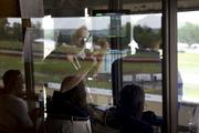 One of the course's announcers calls a race during the recent Buckeye Superbike Weekend presented by Dunlop Tire.
