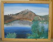 This mountain and lake were painted by Dick Kolks, shipping.