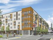 A rendering of the new Family House complex near UCSF Benioff Children's Hospital at Mission Bay.