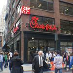 Eager customers join gay and vegan protesters at Chick-fil-A grand opening (Video)