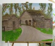 This is a representation of  log cabins in New Salem, Ill., where Abraham Lincoln grew up. Painted by Tom Hoelle, senior value engineer.
