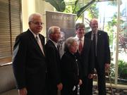 The 2015 inductees in the Florida Inventors Hall of Fame are (from left): Paul Sanberg, Nan-Yao Su, Janet Yamamoto, Jerry Pratt and Robert Grubbs. A poster for the late Henry Ford is in the background. Robert Holton is not pictured.