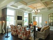 Rock Springs House 3: Great room with coffered ceiling treatment