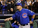 Cubs star Kyle Schwarber stepping to the plate for Sheraton Hotels