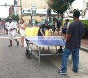 A ping pong table along North Avenue.