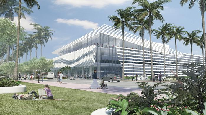 Take a look at Denver's Fentress Architects' spectacular re-do of the Miami Beach Convention Center