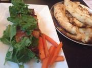 Mango jam-glazed pork belly with cilantro
