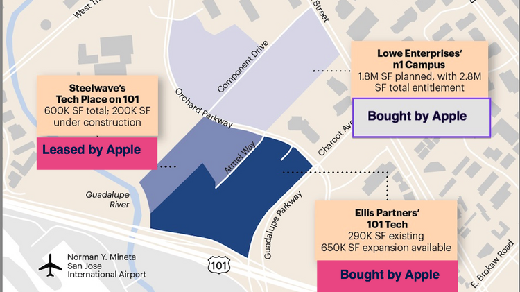 The area Apple has been focused on now sprawls over roughly 86 acres in north San Jose.