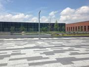 The courtyard of the main entrance to the new building was the last stop for the preview tour.