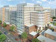A rendered view from the northwest of Douglas Development's 750,000-square-foot (plus) 655 New York Ave. NW. The Advisory Board Co. will serve as the anchor tenant, pending D.C. Council approval of an incentive package. The property is technically owned by Jemal's Walker Boyd LLC.