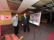 Andrew Mangini, Gramercy Communications director of public affairs, left, and Tom Nardacci, CEO and founder, at 22-26 4th Street in Troy.